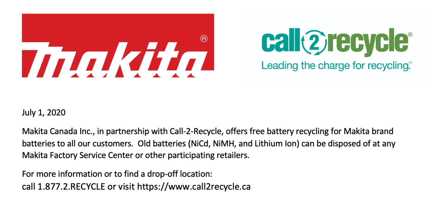 Battery recycle service at call2recycle